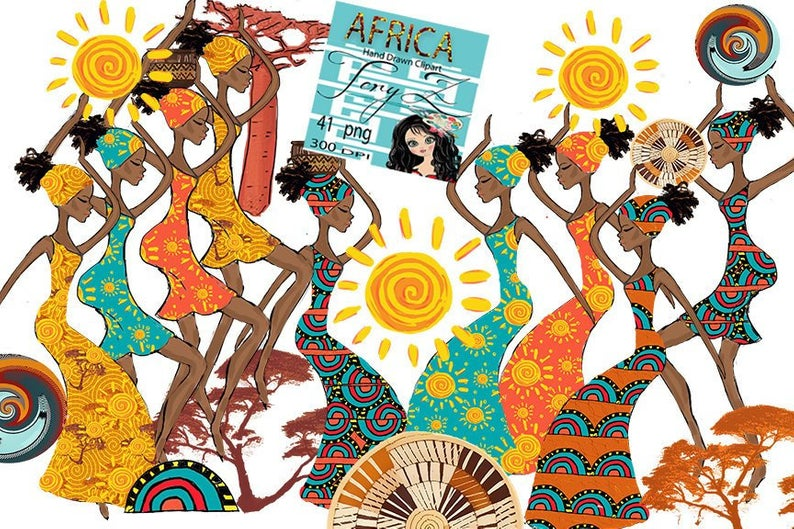 Africa Clipart, African girl Clipart, Black Afro Woman Colorful African  Clipart, Summer Africa Sun Clipart African Sunshine Planner Girl.