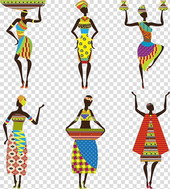 Six women paintings, African art , African woman design material.