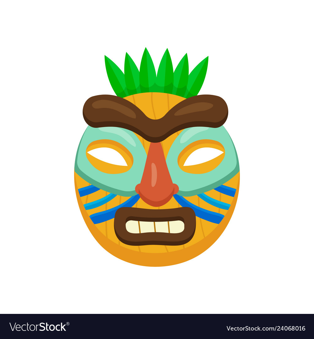 Ugly african mask with opened mouth with thick.