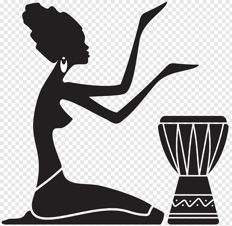 Woman playing the djembe drum illustration, Silhouette.