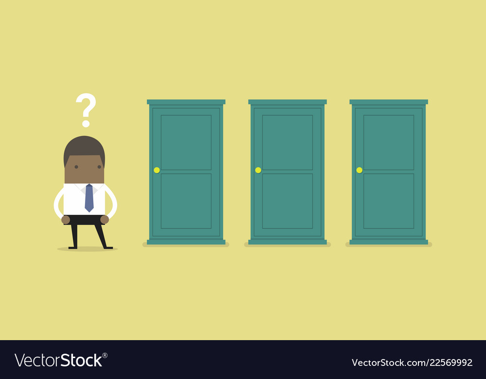 Businessman standing beside three doors.