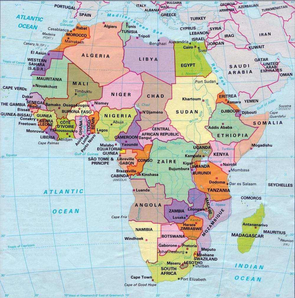 Africa Map Countries And Capitals.