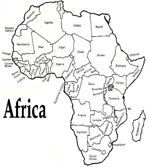 printable african map with countries labled.