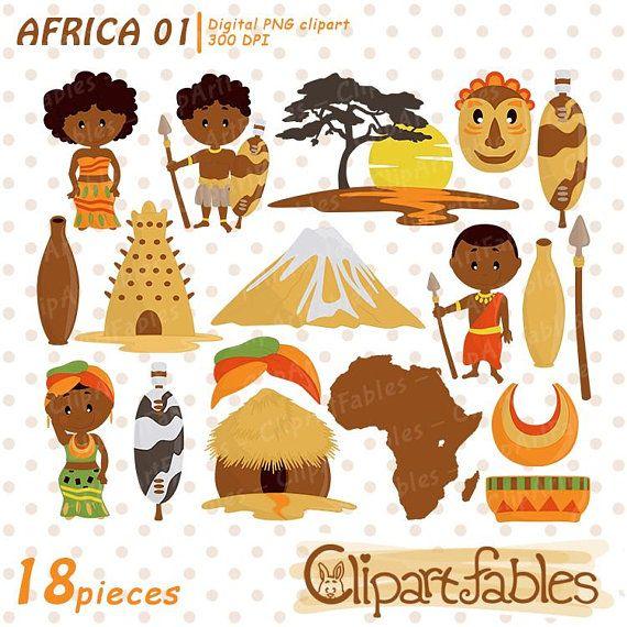 Africa clipart, Zulu Tribe DIgital Clip Art, Travel clip art.