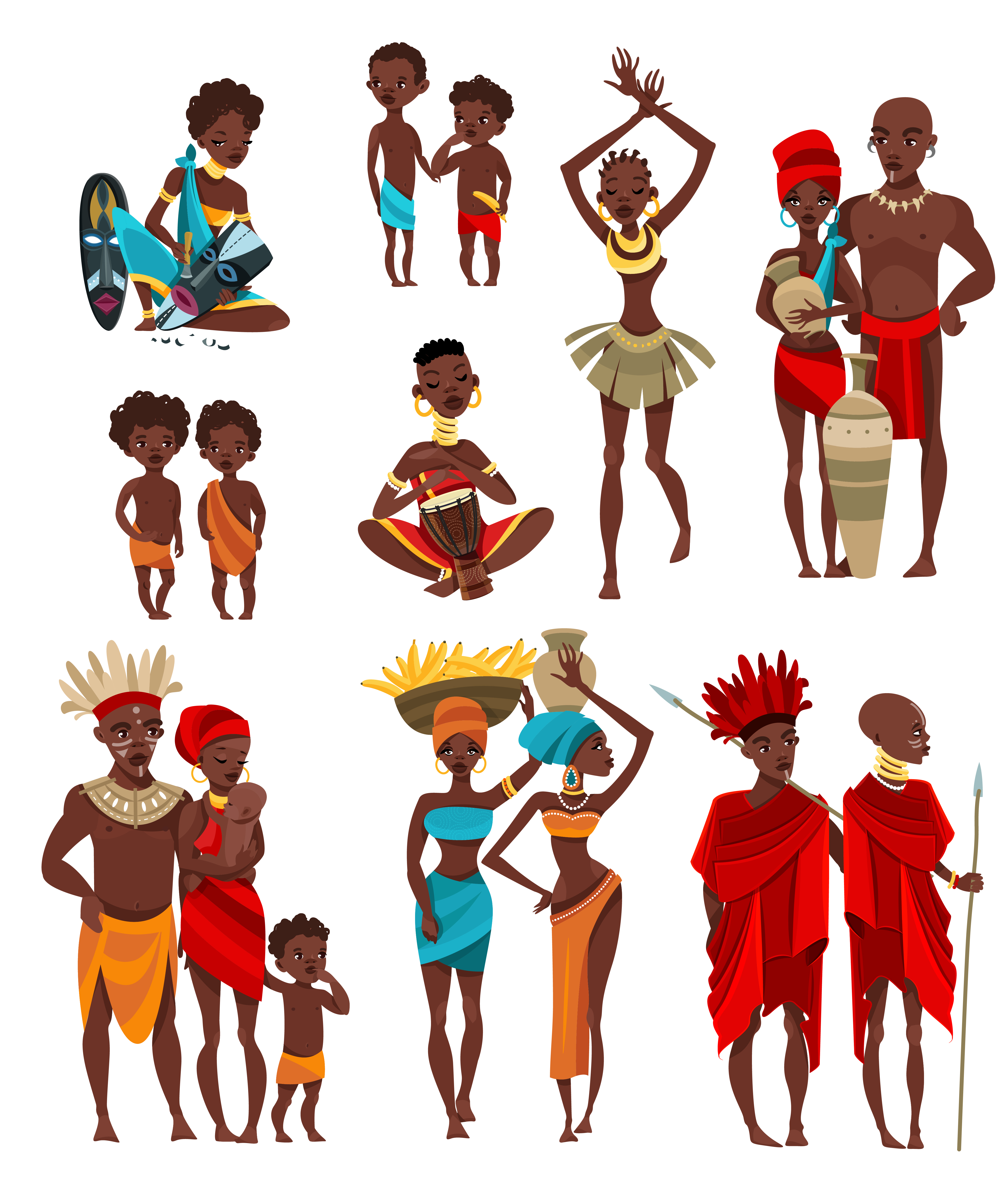 African People Clothing Flat Icons Collection.