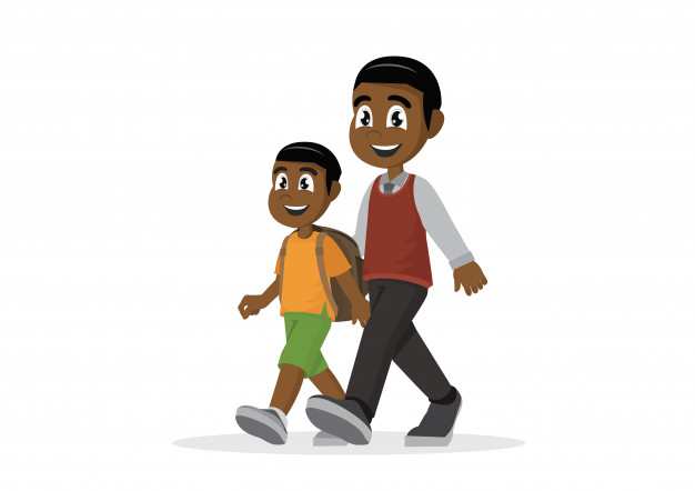 African father leads son to school. Vector.