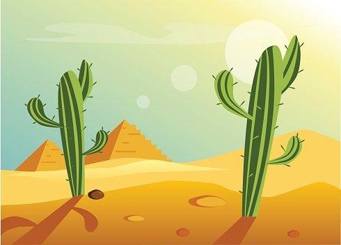 African Desert Landscape Clipart Image.