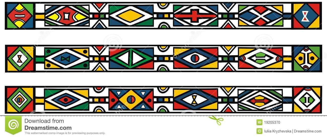 Set of traditional african ndebele patterns.