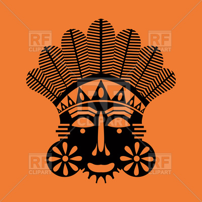 Tribal African mask design, abstract art Vector Image.