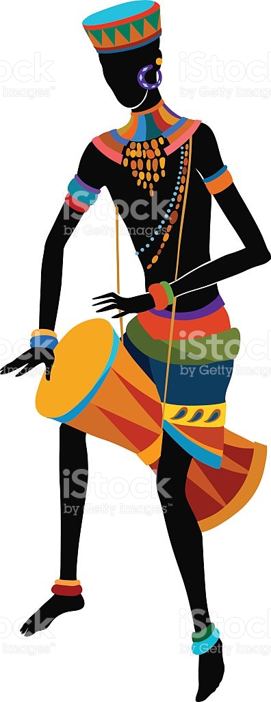 African Man Playing The Drum stock vector art 527655453.