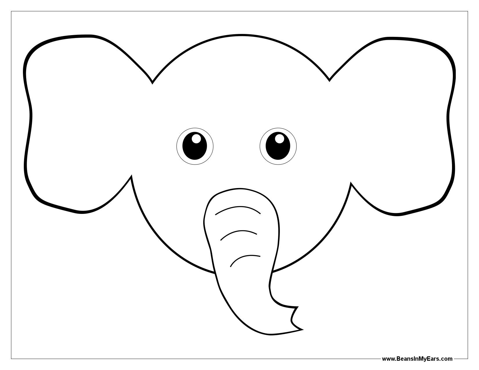 Elephant Face Coloring Page.