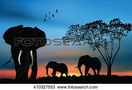 Clipart of African elephants in the savanna k10327553.
