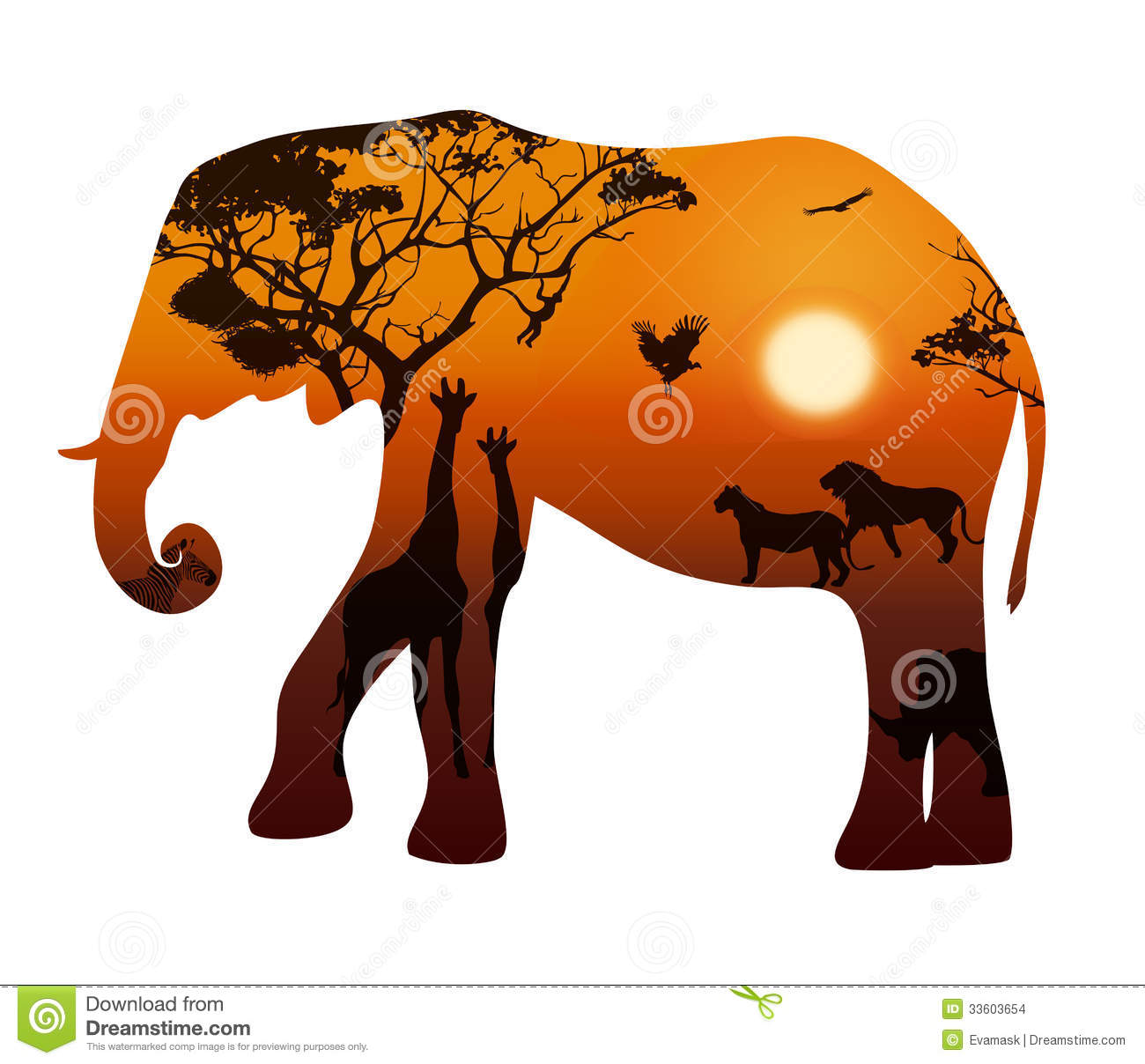 Elephant With Silhouettes Of Animals Savanna Stock Images.