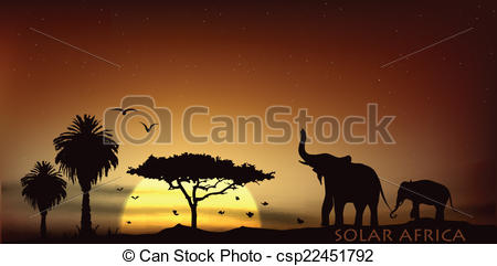 EPS Vectors of sunrise over the savannah with African elephants.