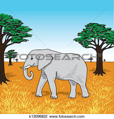 Clipart of Elephant on the savannah k13096822.