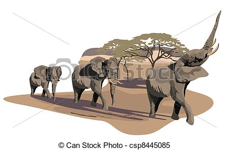 Clipart Vector of Elephants on Savannah.