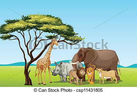 Vector Clipart of African animals.
