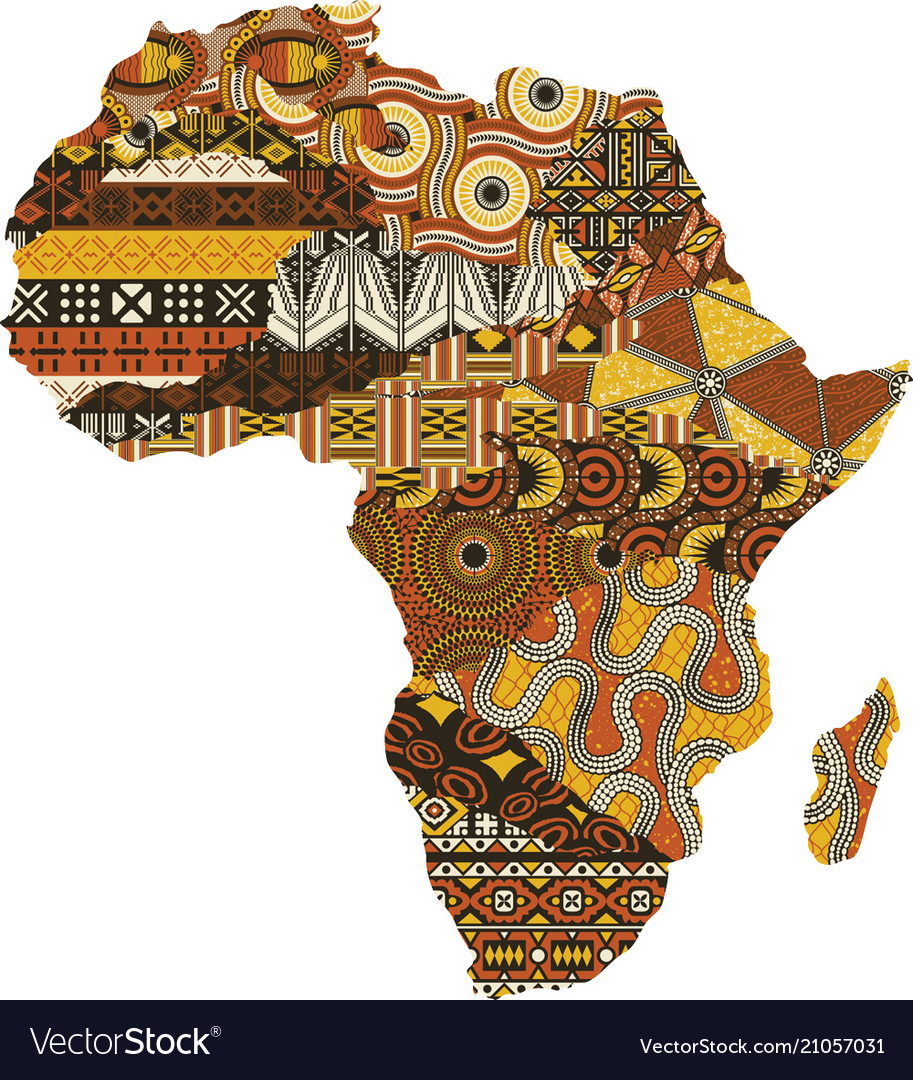 Abstract africa map fabric patchwork.