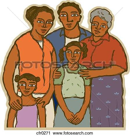 Clipart of An african american family cfr0271.