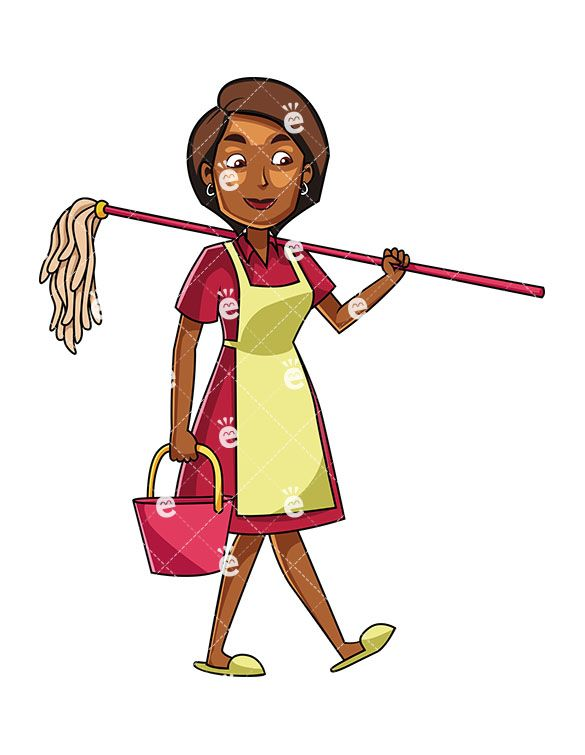 A Black Woman Carrying A Mop And A Bucket.