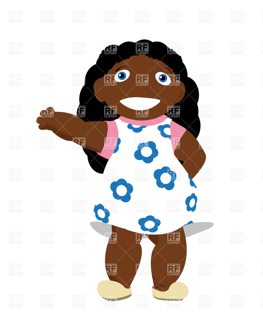 Little african girl greets and smiling Vector Image #9746.