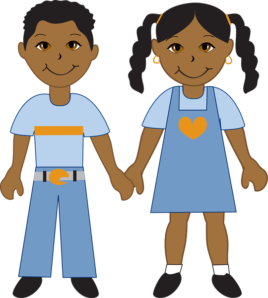 African girl and boy clipart.