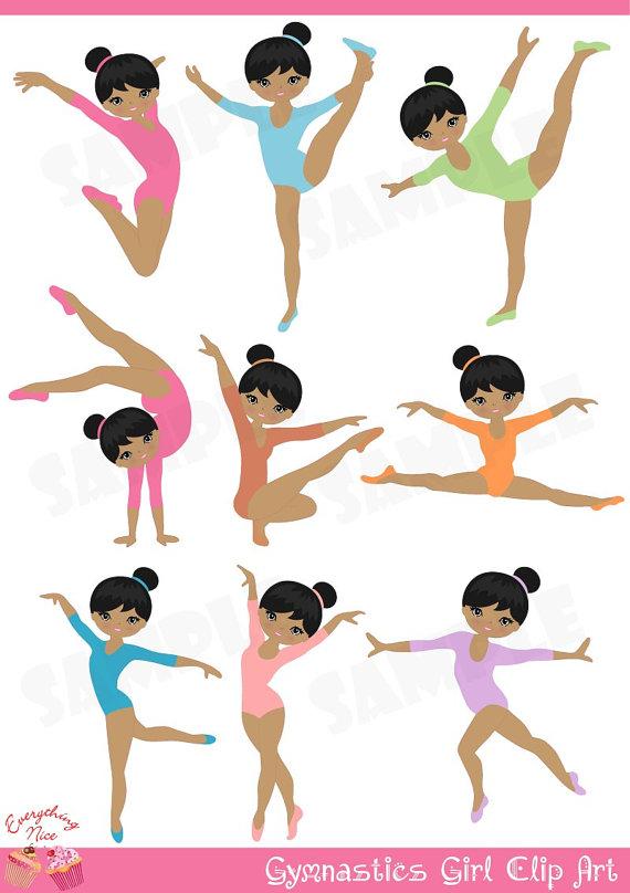 Afro Gymnastics / Gymnast Girl Clip Art.