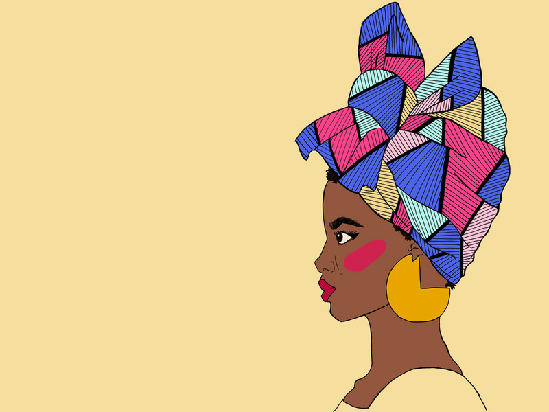 African Headwrap/ Turban illustration by Laura Page on Dribbble.