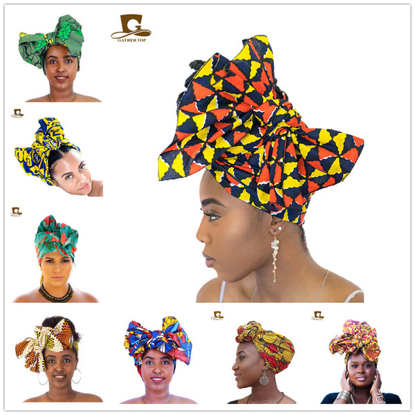 African Wax Fabric Headscarf Traditional African Headwrap Headtie Nigerian  Scarf Headwear Ladies Hijab Muslim Headscarf Cap Hair Accessories Black.