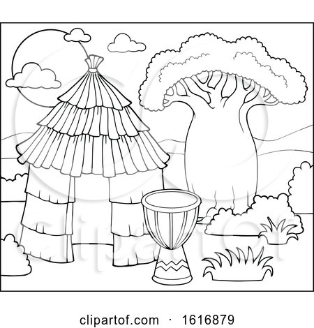 Clipart of a Black and White African Hut and Drum.