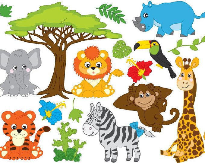 IN THE WILD Clipart, Jungle Clipart, Safari Clipart, Jungle.