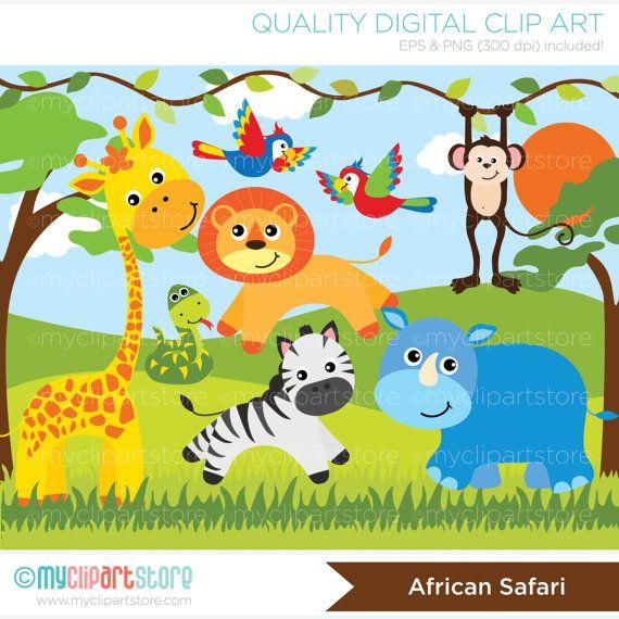 Safari Animals Clipart, Jungle, giraffe, snake, parrots.