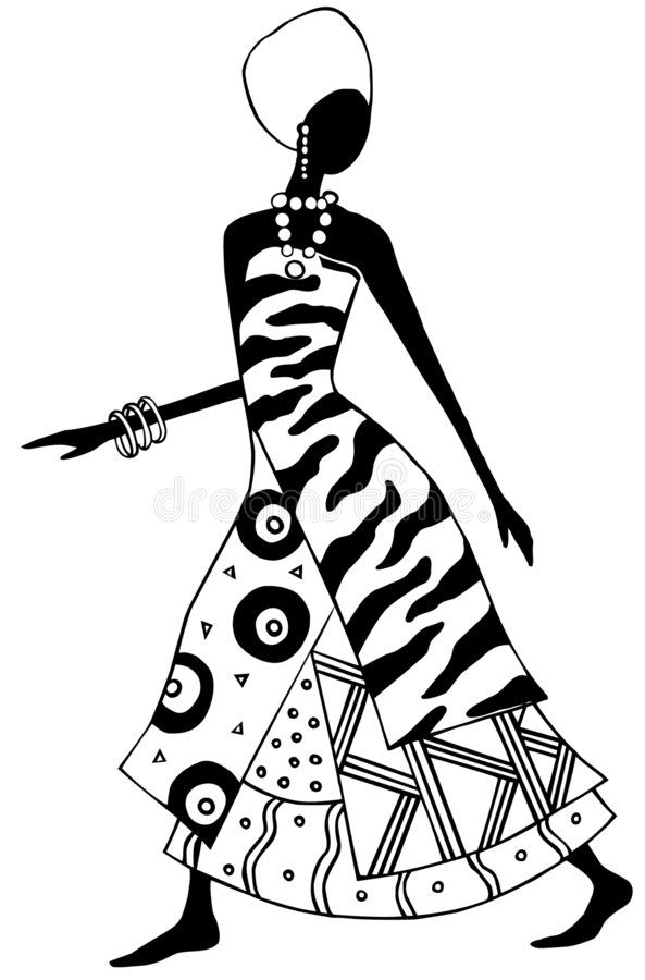 African lady. Stylized black and white african woman.