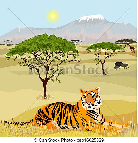 African Mountain idealistic landscape with tiger.