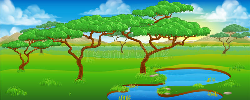 African Landscape Stock Illustrations.