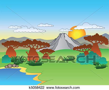 Cartoon African landscape Clipart.