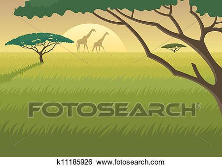 Africa Landscape Clip Art.