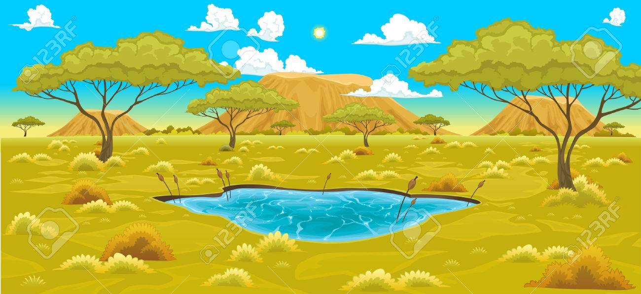African landscape. Vector natural illustration.