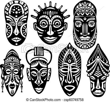 Set of Tribal African Masks.