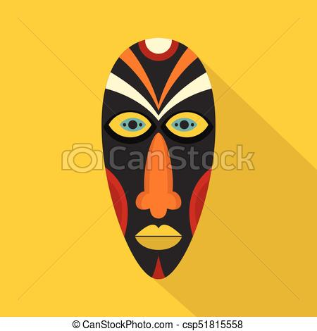 African mask icon, flat style.