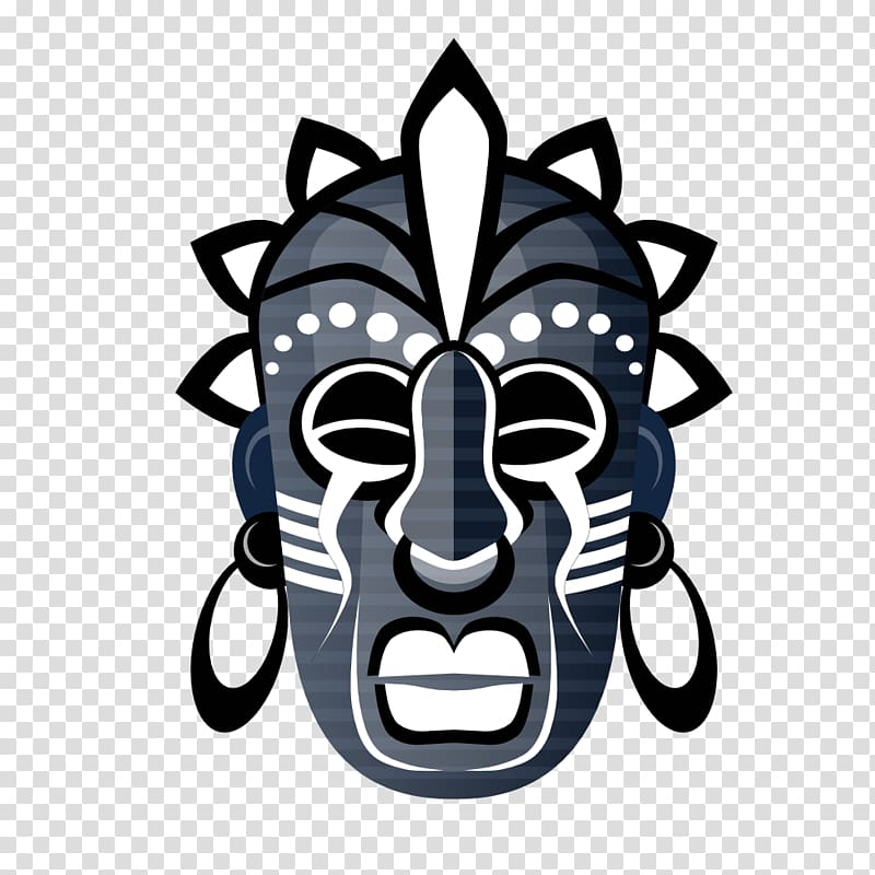 White, grey, and black mask illustration, Traditional.