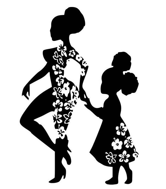 Mini Me Afro Girl Mother and Daughter SVG, Digital Image.