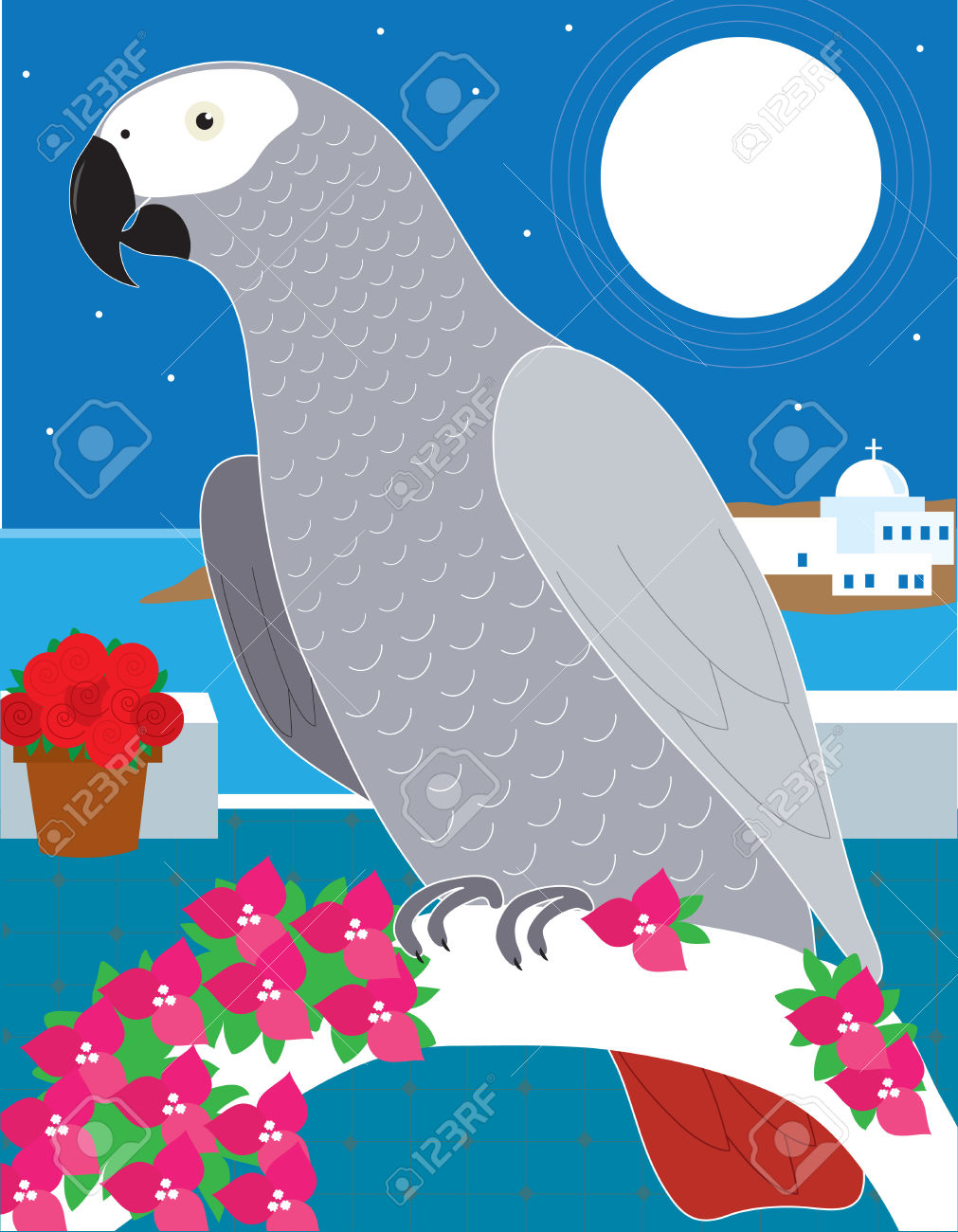 An African Grey Parrot Resting On An Archway In Greece Royalty.