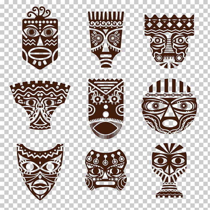 Traditional African masks Drawing, Retro pattern mask, nine.