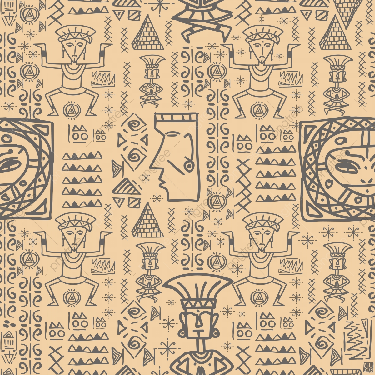 Aztec Tribal With African Egyptian Style Seamless Pattern Vector.