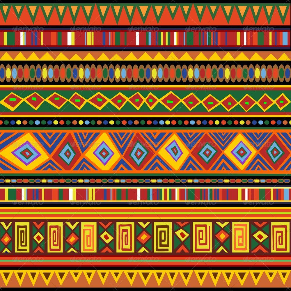 Ethnic Colorful Pattern Africa Art.