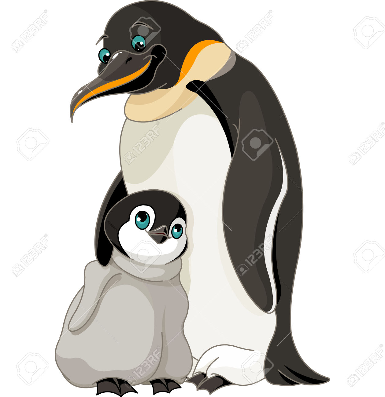 An Adult Emperor Penguin With Its Chick Royalty Free Cliparts.