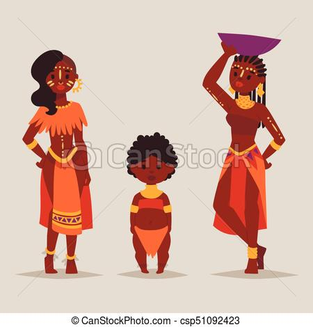 Maasai african people in traditional clothing happy person families vector  illustration..