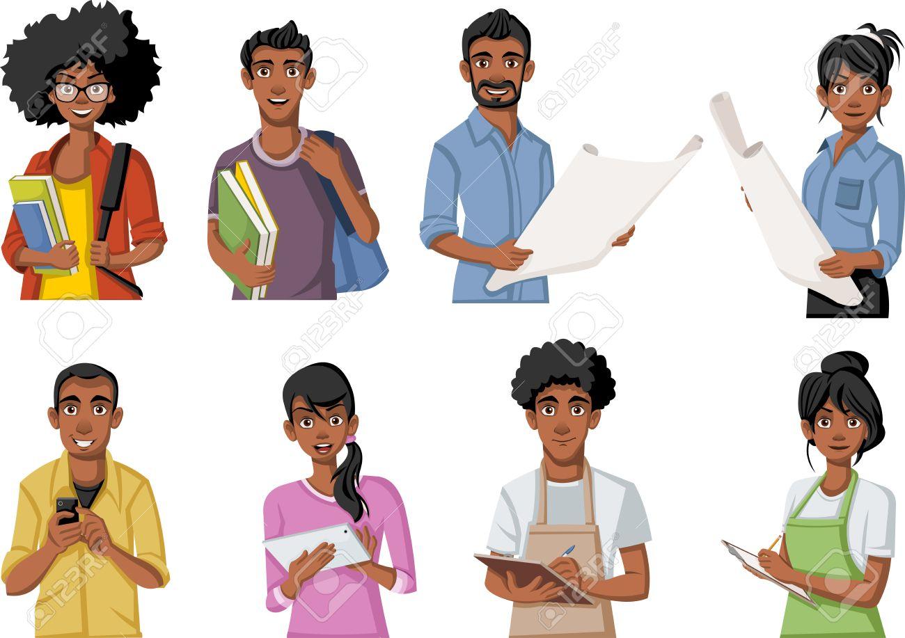 Group of cartoon black people. African teenagers..