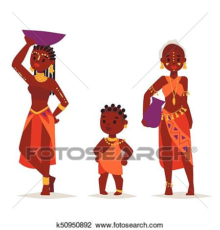 Maasai african people in traditional clothing happy person families vector  illustration. Clipart.